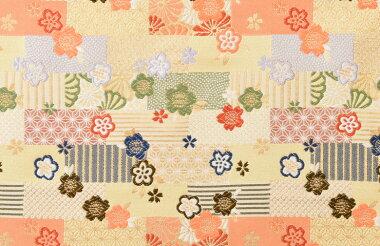 日本製帯地洛レイ胴入梅と小紋づくしむしぐり色72cm巾【生地布】