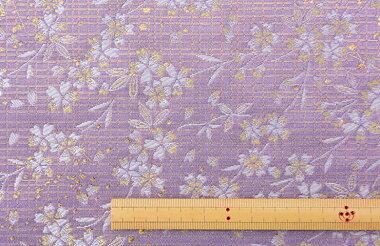 日本製帯地琳派名物裂上無尽桜藤色72cm巾【生地布】
