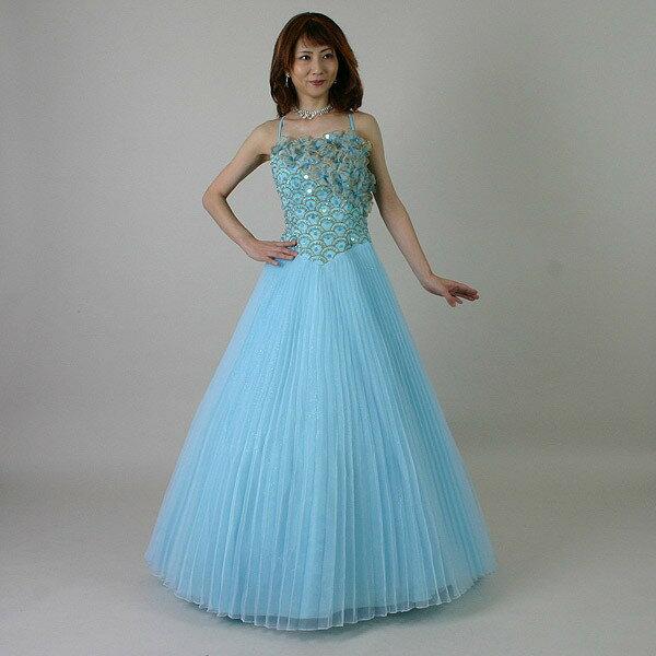 【送料無料】カラードレス/19号/演奏会や発表会のステージ衣装からウエディングに![声楽・ピアノ演奏] カラー:ベビーブルー/演奏会用ドレス/ステージドレス