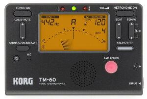 【送料無料 郵便】KORG 電子メトロノーム・チューナー TM-60 ブラック(TM-60-BK) 管楽器・弦楽器 トレーニング用電子機器