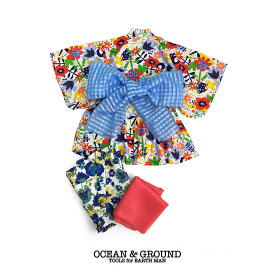 24cd7ed7c4ed0 Ocean&Ground オーシャンアンドグラウンド 浴衣ワンピース 女児 FLORAL BLOOMING レッド