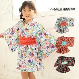Ocean&Ground/オーシャンアンドグラウンド 女児浴衣セットアップ 女児 FLOWER オフホワイト