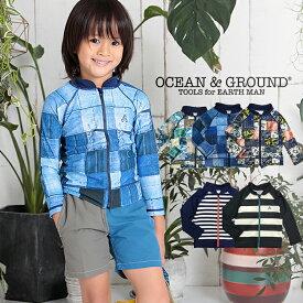 Ocean&Ground/オーシャンアンドグラウンド ラッシュガード 男児 ボーダー ネイビー【返品・交換不可商品】