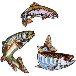 riverpeak(リバーピーク)リアルフィッシュ刺繍アイロンワッペンヤマメイワナニジマス3点セットRP-WP400【ゆうパケットOK】1
