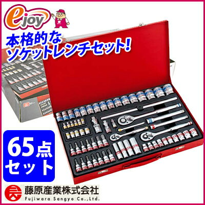 SK11 フルソケットレンチセット 65pcs 差込角 6.3mm 9.5mm 12.7mm TS-2465M 【送料無料】 藤原産業 (工具セット 作業セット  日曜大工 家具組み立て 常備工具 セット 工具 工具箱セット) DIY