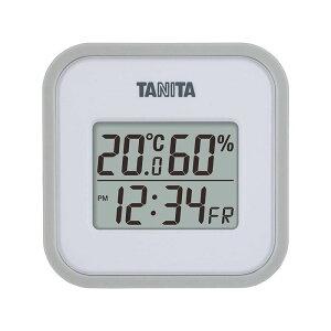 タニタ デジタル温湿度計 TT-558 グレー 日付表示 時刻表示 時計 4904785555808