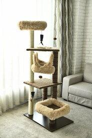 猫タワー 室内猫 多頭 ネコ ストレス発散 キャットタワー YS93160 4段タイプ ハンモック付き 飽きの来ない機能  ペッツラブ 当店オリジナル インテリア 組み立て簡単 猫タワー