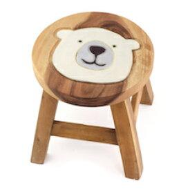 ラウント゛スツール シロクマ スツール キッズチェア しろくま 白 熊 動物 木製 子供用椅子 かわいい プレゼント