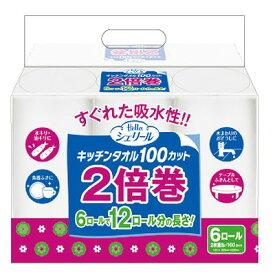 『ユニバーサル・ペーパー』ハロー シェリール キッチンタオル2倍巻100カット×6ロール