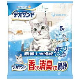 (まとめ買い)デオサンド 香りで消臭する紙砂 ナチュラルソープの香り 5L×6袋
