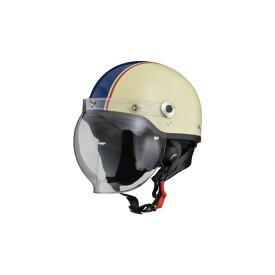 【お買い得】リード工業 バイクヘルメット ジェット CROSS 開閉式バブルシールド付き ハーフヘルメット フリー 57-60cm未満 アイボリー×ネイビー CR-760