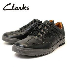 【13日はポイント3倍】クラークス Clarks スニーカー 靴 革靴 レザー カジュアルシューズ Unrhombus Fly 本革 ブラック 黒色 メンズ ブランド 男性向け 人気 新品 未使用 cl26127962