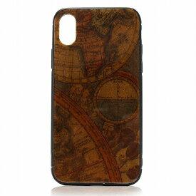 iPhone X ケース アイフォンケース イタリア製紙 日本製 スマホケース カバー ブラウン 地図 luminio ルミニーオ ブランド itl1902-4map 2021 秋冬