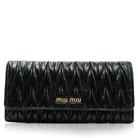 ミュウミュウ MIUMIU マテラッセ ギャザー 長財布 レザー ブラック レディース ブランド 5m1109 2020 女性 彼女