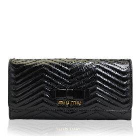 新品 ミュウミュウ MIUMIU 長財布 レディース レザー ブラック ブランド 5m1109-vishch-nero 2020