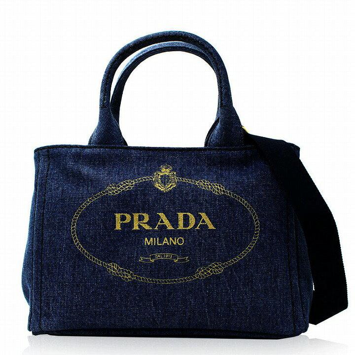 プラダ バッグ PRADA カナパ バッグ レディース トートバッグ ショルダーストラップ付き 2way デニム ブルー ゴールド アウトレット ブランド 1bg439v-0y0aj6-blue 2019 女性 彼女