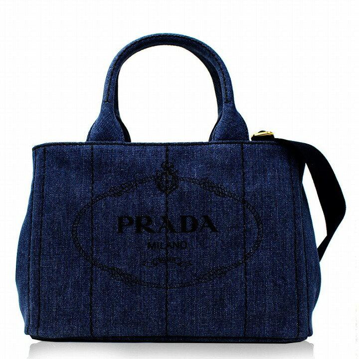 プラダ バッグ PRADA カナパ レディース トートバッグ ショルダーストラップ付き 2way デニム ブルー ブラック アウトレット ブランド 1bg439v-aj6-blue 2019 女性 彼女