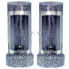 お墓用ローソク立て 石製ローソク立 AKARI Sサイズ 石の種類:G-663 【代金引換・後払い決済不可】【送料無料】