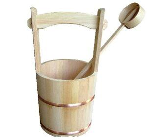 木製さわら手桶 (木製柄杓付)
