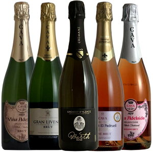 豪華クレマン入り ロゼ2本入りの全てシャンパン製法 スパークリング5本セット第12弾 スペインワイン ワインセット 送料無料 送料込み ワイン セット wine ギフト プレゼント 750ML
