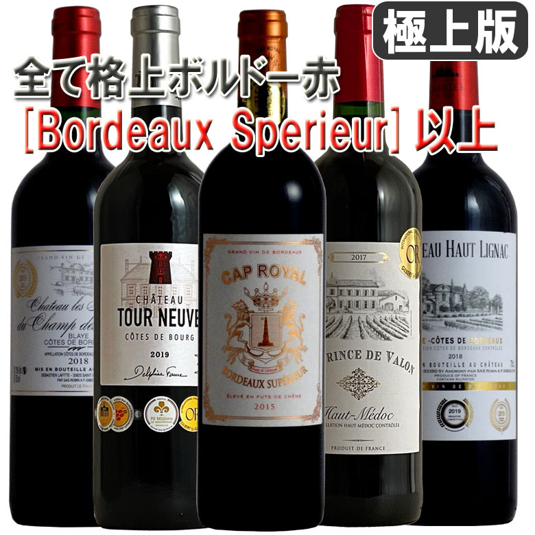 極上版 ボルドー全て格上げ スペリュール以上 5本 ボルドー ワインセット ワイン 金賞 セット 赤ワインフルボディー カベルネソービニオン メルロー カベルネフラン 送料無料 ギフト bordeaux wine