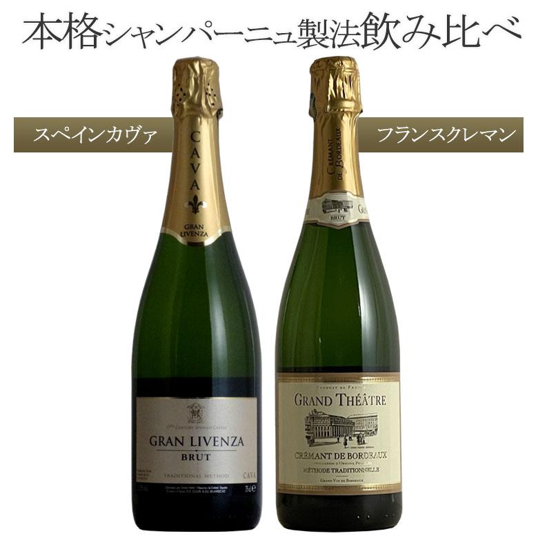 瓶内2次発酵 本格ブリュットスパークリング フランス×スペイン2本セット ワイン セット wine