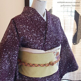 Small pattern / purple place of a west camp こもの shop original polyester lined kimono kimono, kimono ★ pongee kimono - flower and butterfly made with a wide neckband