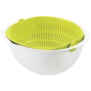 ボウル一体型ざる/調理器具 【小サイズ グリーン】 日本製 食器洗浄機対応 『ミラくるザル・ボウル』 〔キッチン 台所〕