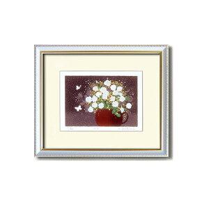 『花』風水額/シルク版画 【吉岡浩太郎 白い花】 吊りひも付き 日本製