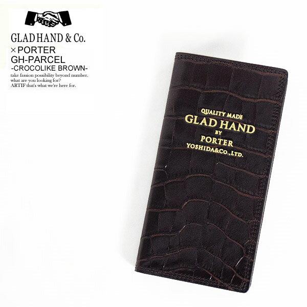 グラッドハンド×ポーター GLAD HAND×PORTER GH PARCEL -CROCOLIKE BROWN- レディース メンズ アイフォンケース アイホンケース iPhone8 ブックタイプ 手帳型 レザー 牛革 おしゃれ かっこいい ファッション ストリート 送料無料 gladhand