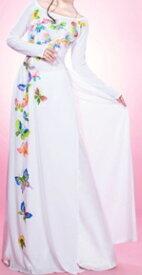 【アオザイ】【ベトナム製】【イージオーダー】【アオワンピ白】【アオザイワンピース 白】  シルキーポリエステル製 手洗洗濯可能 現品限り。(型番264)白とご指定ください)【ズボンは別です】