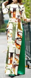 【アオザイ】【ベトナム製品】【アオワンピ大胆柄】イージオーダー【アオザイワンピース大胆柄】  シルキーポリエステル製 手洗洗濯可能 現品限り。(大胆柄赤蓮花とご指定ください)【ズボンは別です】