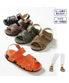 サンダル 大きいサイズ レディース リフレッシュステップ ゆったりコンフォートクロス 靴 オレンジ/グリーン/ブラウン/オーク/ブラック 24.0〜24.5/25.0〜25.5/26.0〜26.5cm ニッセン nissen