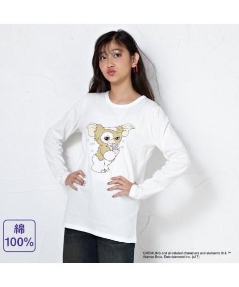 ニッセン トップス・チュニック 綿100%長袖Tシャツ(グレムリン) nissen