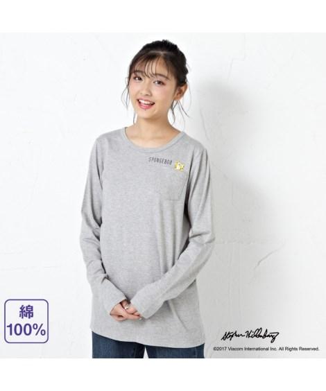 トップス・チュニック 綿100%長袖Tシャツ(スポンジ・ボブ) ニッセン nissen