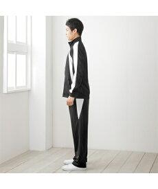 パジャマ 大きいサイズ カジュアル メンズ シャドーストライプライン入 ジャージ 上下セット ブルゾン + ロング パンツ 年中 リラックス 黒×オレンジ/黒×チャコール/黒×ブルー/黒×白 7L/8L/10L ニッセン