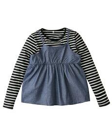 f1a7a3b2de624 Tシャツ カットソー キッズ シャンブレーキャミ重ね着風 女の子 子供服 ジュニア服 トップス ブルー