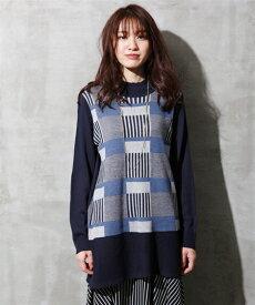 セーター ニット 大きいサイズ レディース ブロック 柄切替 チュニック カーキ系/ネイビー系 8L/10L ニッセン