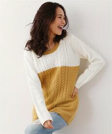 セーター ニット 大きいサイズ レディース バイ カラー ケーブル編み オフホワイト×ベージュ/杢グレー×黒 8L/10L ニッセン
