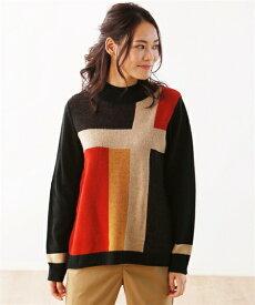 セーター ニット 大きいサイズ レディース 多色使い プルオーバー 青系/赤系 8L/10L ニッセン