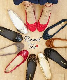 靴 レディース ラウンドトゥ バレエ シューズ 年中 キャメル〜赤 エナメル 21.0〜21.5〜26.0〜26.5cm ニッセン