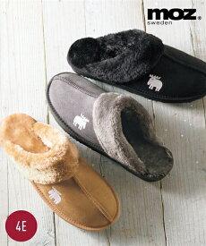 サンダル 大きいサイズ レディース MOZ モズ ムートン調 スリッパ ワイズ4E 靴 キャメル/グレー/黒 25.0〜25.5cm ニッセン