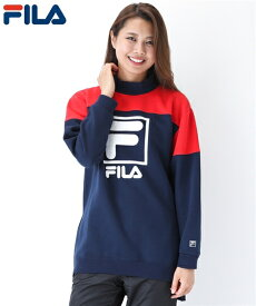 FILA スポーツウェア トップス 大きいサイズ レディース ゆるシルエット裾ジップ スウェット チュニック 年中 ネイビー/ブラック 3L/4L/5L ニッセン