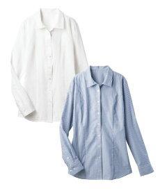 大きいサイズ レディース 2枚組 長袖 ハマ カラー シャツ 形態安定 もっとゆったりバスト 年中 オフホワイト+オフホワイト/オフホワイト+ブルー系ストライプ 15〜38号 ニッセン