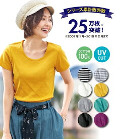 トップス・チュニック UVカット綿100%フライス素材クルーネック半袖Tシャツ ニッセン nissen