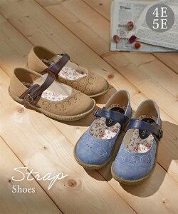 靴 大きいサイズ レディース かかとが踏める ストラップ シューズ 低反発中敷 選べるワイズ モカブラウン/黒 26.0〜26.5cm ニッセン nissen