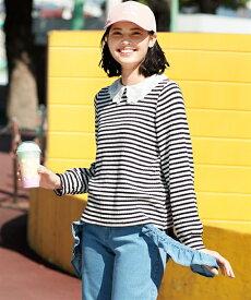 Tシャツ カットソー 大きいサイズ レディース 衿付き リブ プルオーバー オフホワイト×黒 ボーダー /コーラルピンク L〜10L ニッセン