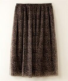 スカート ひざ丈 大きいサイズ レディース 2枚重ねチュール PURE BRIGHT 黒系 ドット /茶系 ヒョウ柄 3L ニッセン