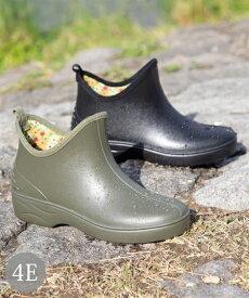 シューズ レイン 大きいサイズ レディース ショート ブーツ 防水仕様 ワイズ4E相当 靴 ブラック/モスグリーン 25.0〜25.5cm ニッセン nissen