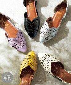 靴 大きいサイズ レディース カットワークフラット パンプス 低反発中敷 ワイズ4E アイボリー/イエロー/シルバー/パープル/黒 25.0〜25.5cm ニッセン